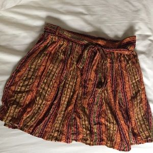 Bright patterned printed tie waist mini skirt f21